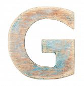 Painted wood alphabet, letter G