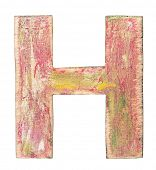 Painted wood alphabet, letter H