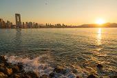 image of costa blanca  - Sunny early morning on Benidorm resort Costa Blanca Spain - JPG