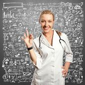 young doctor woman with stethoscope shows OK against different backgrounds
