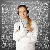 doctor woman with headphones smile at camera isolated on different backgrounds