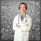asian doctor with headphones, lab coat and stethoscope