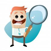 funny cartoon businessman with big magnifying glass