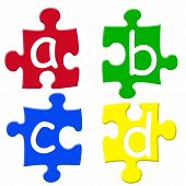 Abcd Jigsaw Pieces