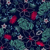 Tropical Embroidery Lush Floral Design In A Seamless Pattern