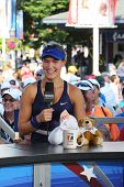 Professional tennis player Eugenie Bouchard during interview with Tennis Channel at US Open 2014