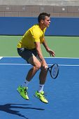 Professional tennis player Milos Raonic practices for US Open 2014