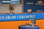 US Open Men and Women singles trophies presented at the 2014 US Open Draw Ceremony