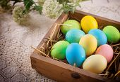 pic of nesting box  - Easter eggs o in wooden box - JPG