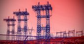 Futuristic Industrial Vision, Pylons And Transmission Power Lines.