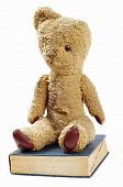 antique teddy bear and old book