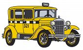 image of cabs  - Hand drawing of a vintage taxi cab  - JPG