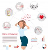 Stress infographic illustration with businesswoman