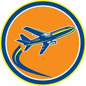 Commercial Jet Plane Airline Flying Retro