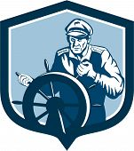 Fisherman Sea Captain Shield Retro