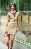 Fashionable Young Woman Smiling With Handbag