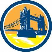 Tower Bridge London Woodcut Retro
