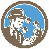 picture of juggler  - Illustration of a juggler juggling balls wearing top hat set inside circle on isolated background done in retro woodcut style - JPG
