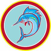Sailfish Fish Jumping Circle Cartoon