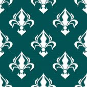 Seamless fleur-de-lis royal white pattern