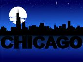 Chicago skyline reflected with text and moon vector illustration