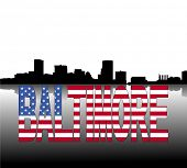 Baltimore skyline reflected with American flag text vector illustration