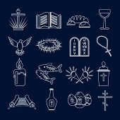 Christianity icons set outline
