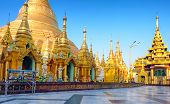 Shwedagon pagoda and temple in Myanmar, Yangon. Golden stupa in Burma