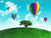 3D render of hot air balloons in the sky above a tree on a grassy globe
