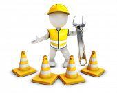 3D Render of Morph Man Builder with Caution Cones