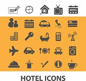 hotel isolated icons, signs, vectors, illustrations, silhouettes set, vector