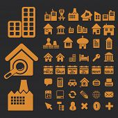 real estate, buildings isolated icons, signs, vectors, illustrations, silhouettes set, vector