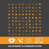 100 internet communcation isolated icons, signs, vectors, illustrations, silhouettes set, vector