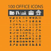 100 office document isolated icons, signs, illustrations, silhouettes, vectors set