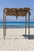 Sunshade At Chrysi Island Beach Near Crete. Greece