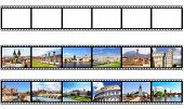 Old filmstrips. Isolated on white background