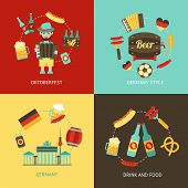 picture of accordion  - Germany travel Oktoberfest drink and food flat set isolated vector illustration - JPG