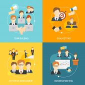 stock photo of collaboration  - Teamwork business collaboration effective management flat composition icons set isolated vector illustration - JPG