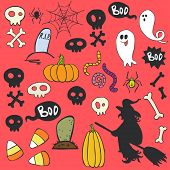 image of skull cross bones  - Set of colorful hand drawn halloween doodles with cartoon ghosts skulls candy corns and other elements - JPG