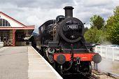 Vintage steam train in station