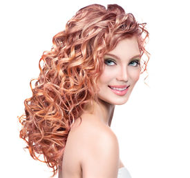 foto of perm  - Beauty girl with red curly hair - JPG
