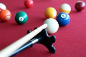 Billiard Balls In A Pool Red  Table.