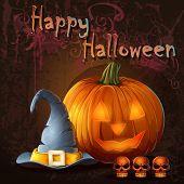 Halloween illustration with pumpkin skull cap