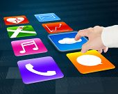Finger Pointing At Cloud Computing With Colorful App Icons