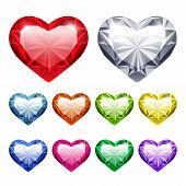 Vector Gem Hearts Set