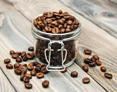 Glass Jar Full Of Coffee Beans
