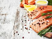 Portions Of Fresh Salmon Fillet