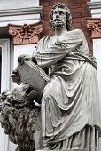 VIENNA, AUSTRIA - OCTOBER 10: Saint Mark the Evangelist on the facade of Evangelical School in Vienna, Austria on October 10, 2014.