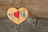 Love Valentines Message Wooden Heart Sign On Rough Grey Background