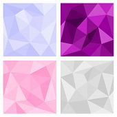 Pink, grey and violet triangle vector background or chevron surface pattern set